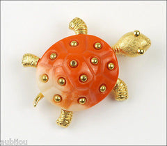 Vintage Crown Trifari Figural Faux Coral Lucite Turtle Brooch Pin 1960S Reptile
