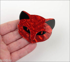 Lea Stein Bacchus The Cat Head Brooch Pin Red Black Model