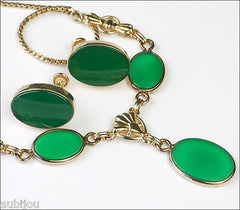 Vintage Van Dell Gold Filled Faux Chrysoprase Green Glass Cabochon Necklace Set 1960's