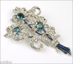 Vintage Crown Trifari Montana Blue Rhinestone Floral Flower Pin Fur Clip 1940's Spaney