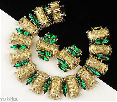 Vintage Signed Art Ornate Emerald Green Rhinestone Simulated Pearls Bracelet Set 1960's