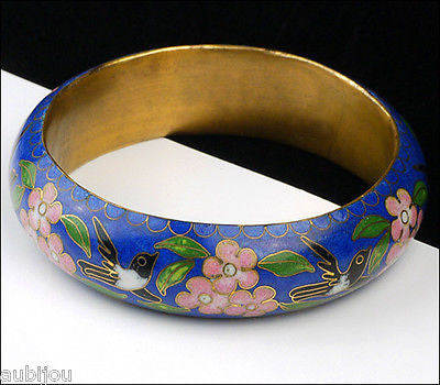 Vintage Cloisonne Dark Blue Enamel Floral Cherry Blossom Bird Bangle Bracelet 1970's