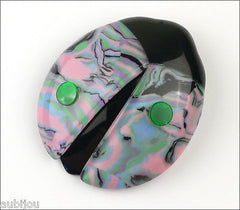 Lea Stein Lady Bug Brooch Pin Pink Green Black