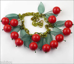 French Plastic Dangling Red Cherry Green Leaf Fruit Necklace Summer Paris