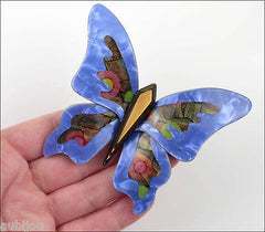 Lea Stein Elfe The Butterfly Insect Brooch Pin Blue Yellow Multicolor Model