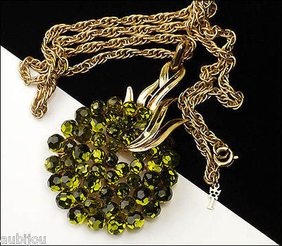 Vintage Trifari Briolette Olivine Green Faceted Glass Rhinestone Pendant Necklace