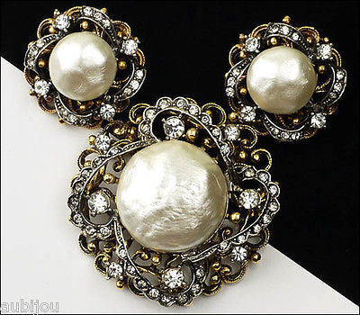 Vintage Signed Art Modeart Rhinestone Baroque Pearl Set Pin Brooch Earrings 1960's