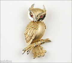 Vintage Crown Trifari 3D Figural Bird Owl Red Cabochon Fashion Brooch Pin 1960's