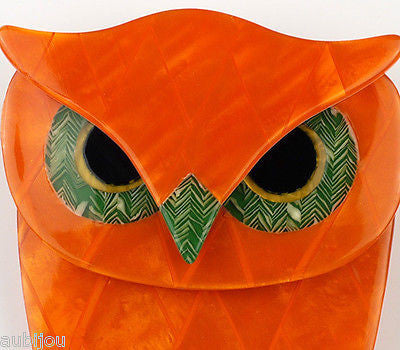 Lea Stein Buba The Owl Bird Brooch Pin Pearly Orange Green Gallery