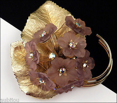 Vintage Napier Lilac Lavender Frosted Glass Rhinestone Flower Violet Brooch Pin 1960's