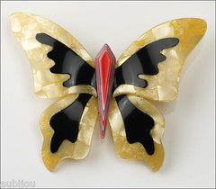 Lea Stein Elfe The Butterfly Insect Brooch Pin Jonquil Black Red Front