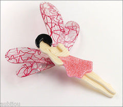 Lea Stein Fairy Demoiselle Volage Brooch Pin Pink Black Red