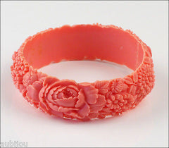 Vintage Japan Celluloid Floral Rose Lily Of The Valley Pink Coral Bracelet Bangle 1950's