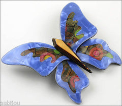 Lea Stein Elfe The Butterfly Insect Brooch Pin Blue Yellow Multicolor Side