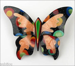 Lea Stein Elfe The Butterfly Insect Brooch Pin Black Cellestial Multicolor Front
