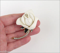 Kenneth Jay Lane KJL Floral Flower 3D White Rose Brooch Pin Enamel Rhinestone