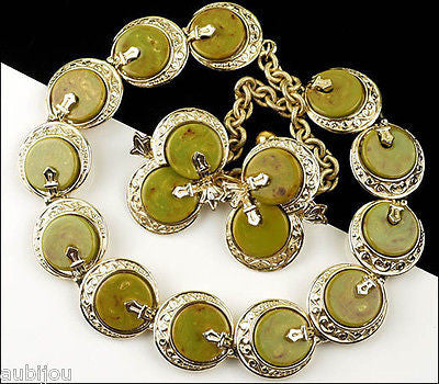 Vintage Signed Art Oriental Mustard Green Marbled Bakelite Necklace Choker Set 1960S