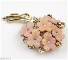 Vintage Trifari Pink Molded Glass Forget Me Not Flower Bouquet Brooch Pin 1950's