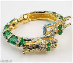Kenneth Lane KJL Asian Oriental Green Enamel Rhinestone Double Dragon Bracelet