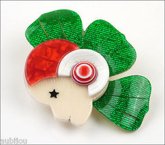 Lea Stein Corolle Art Deco Girl Petal Brooch Pin Green Red White Side