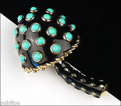 Vintage Crown Trifari Black Enamel Turquoise Beads Mushroom Brooch Pin Toadstool 1960's