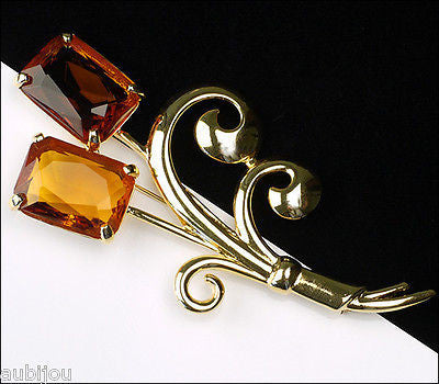 Nolan Miller Large Floral Flower Topaz Faceted Glass Rhinestone Brooch Pin
