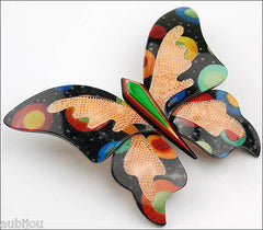 Lea Stein Elfe The Butterfly Insect Brooch Pin Black Cellestial Multicolor Side