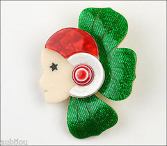 Lea Stein Corolle Art Deco Girl Petal Brooch Pin Green Red White Front