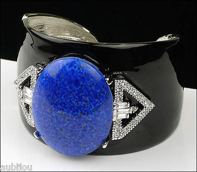 Kenneth Lane KJL Art Deco Black Enamel Faux Lapis Blue Cabochon Cuff Bracelet