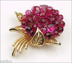Trifari Briolette Fuchsia Faceted Glass Rhinestone Flower Nosegay Brooch Pin Set