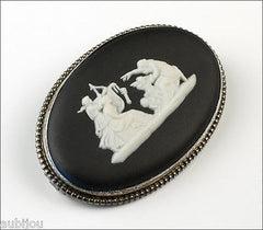 Vintage Wedgwood Black Jasper Ware Porcelain Cameo Sterling Silver Brooch Pin Boxed