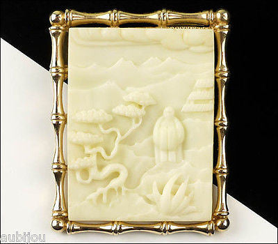 Vintage Asian Oriental White Carved Lucite Bonsai Tree Brooch Pendant Bamboo 1960's