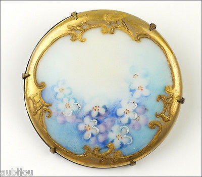 Vintage Porcelain Handpainted Floral Light Blue Forget Me