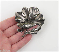 Vintage Cini Sterling Silver Floral Flower Poppy Hibiscus Brooch Pin Earrings Set
