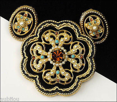 Vintage Signed Art Black Velvet Smoked Topaz Rhinestone Flower Brooch Pin Set 1960's