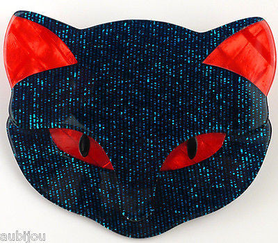 Lea Stein Bacchus The Cat Head Brooch Pin Dark Blue Red Gallery