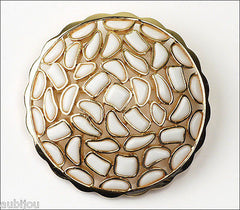 Vintage Crown Trifari Modern Mosaic White Molded Glass Brooch Pin 1960's Jewelry
