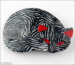 Lea Stein Gomina The Sleeping Cat Brooch Pin Grey Animal Print Front