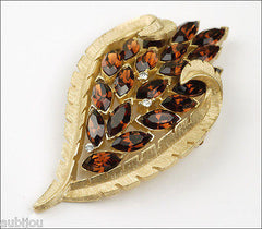 Vintage Trifari Smoked Topaz Rhinestone Floral Leaf Brooch Pin Set Earrings 1960's