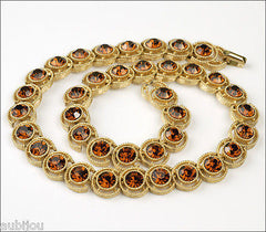 Vintage Trifari Smoked Topaz Rhinestone Floral Necklace Earrings Set Choker 1960's