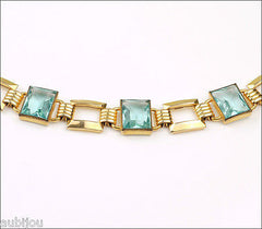 Vintage Simmons Gold Filled Art Deco Aqua Blue Aquamarine Glass Rhinestone Bracelet