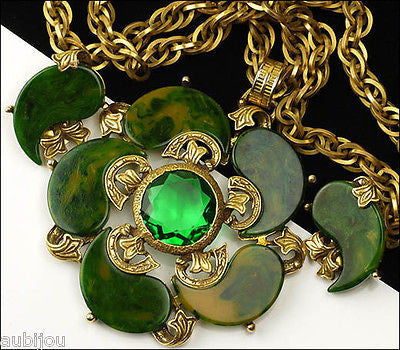 Signed Art Spinach Green Marbled Bakelite Emerald Green Rhinestone Pendant Set