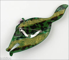 Lea Stein Attila The Cat Brooch Pin Green Red Back