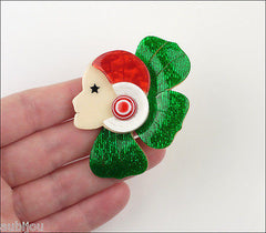 Lea Stein Corolle Art Deco Girl Petal Brooch Pin Green Red White Model