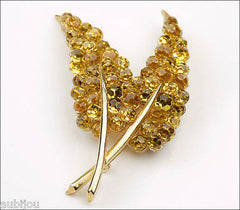 Trifari Briolette Light Topaz Yellow Faceted Glass Rhinestone Leaf Brooch Pin