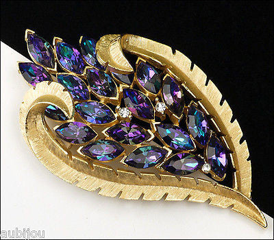 Vintage Trifari Purple Heliotrope Glass Rhinestone Floral Leaf Brooch Pin 1960's