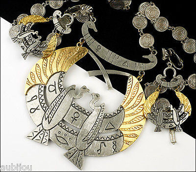 Vintage Signed Art Egyptian Revival Bird Wings Pendant Necklace And Earring Set