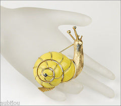 Vintage Crown Trifari 3D Figural Yellow Enamel Snail Brooch Pin Shell Slug 1960's