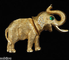 Vintage Kenneth Jay Lane KJL Figural Articulated Elephant Rhinestone Brooch Pin 1960's