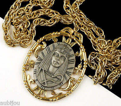 Vintage Signed Art Egyptian Revival Nefertiti Queen Pendant Necklace Medallion 1970's